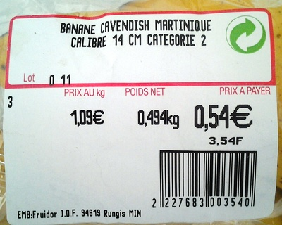 Banane Cavendish Martinique - Ingredients - fr