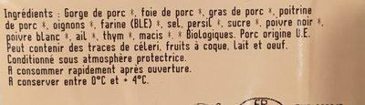 Terrine de campagne traditionnelle rotie au four - Ingrédients