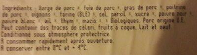 Terrine de campagne traditionelle rotie au four - Ingredients - fr