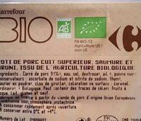 Rôti de porc cuit bio - Ingredients - fr