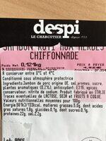 Jambon aux herbes chiffonnade - Ingrédients - fr