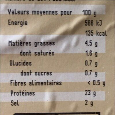 Jambon a l'ancienne - Nutrition facts - fr
