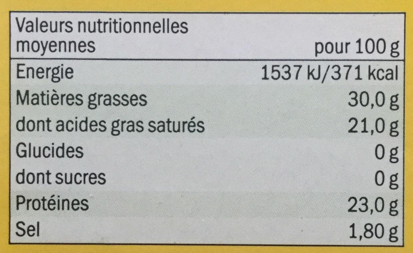 Gouda Holland - Voedingswaarden - fr