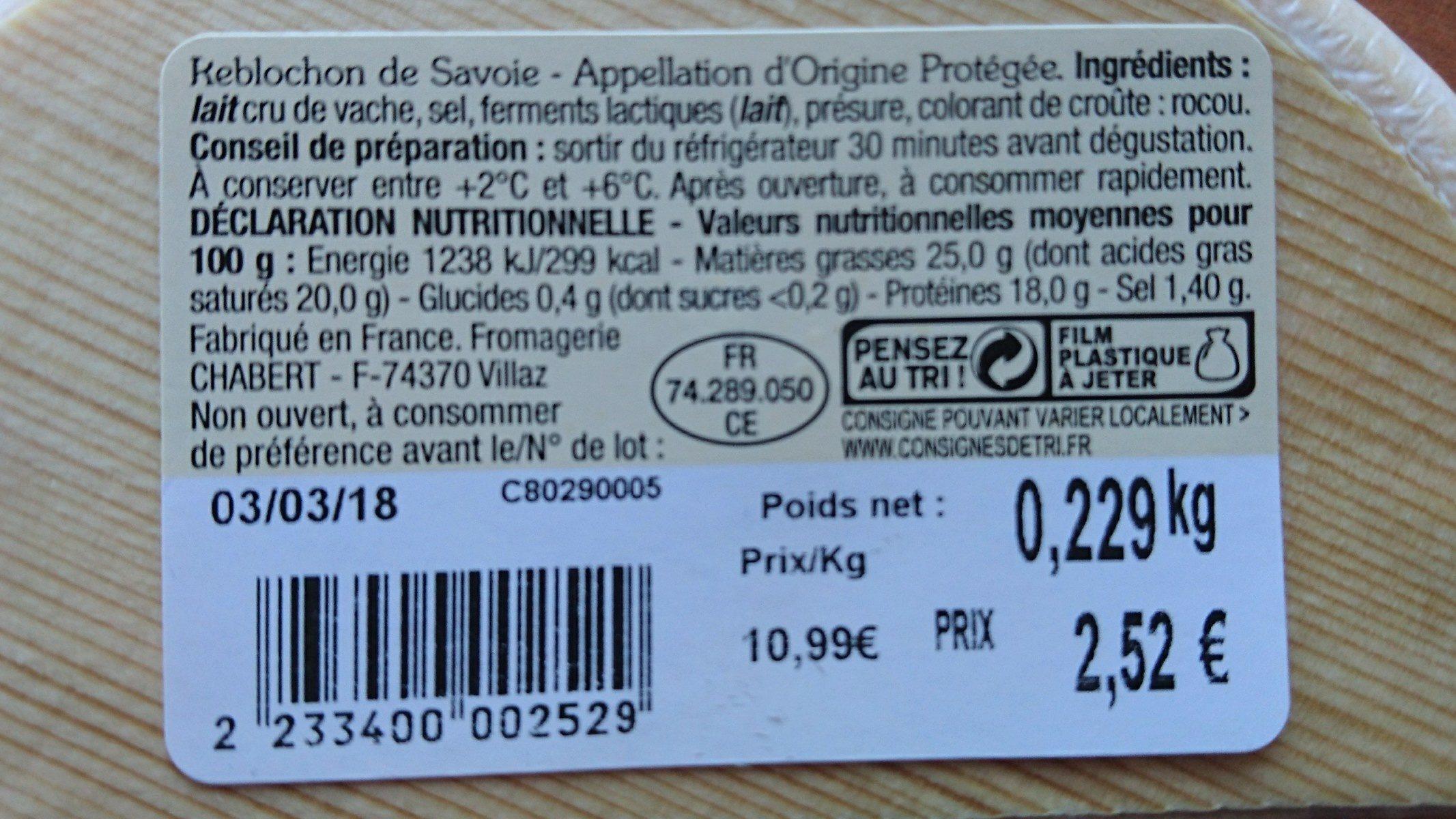 Reblochon de Savoie - Ingrediënten - fr