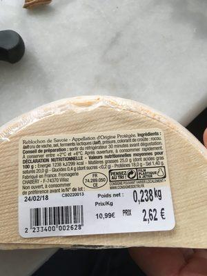 Reblochon - Ingrédients - fr