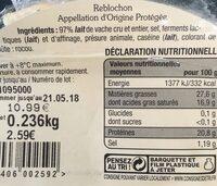 Reblochon de savoir - Informations nutritionnelles - fr