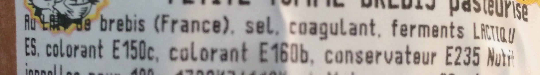 Petite tomme brebis - Ingredients