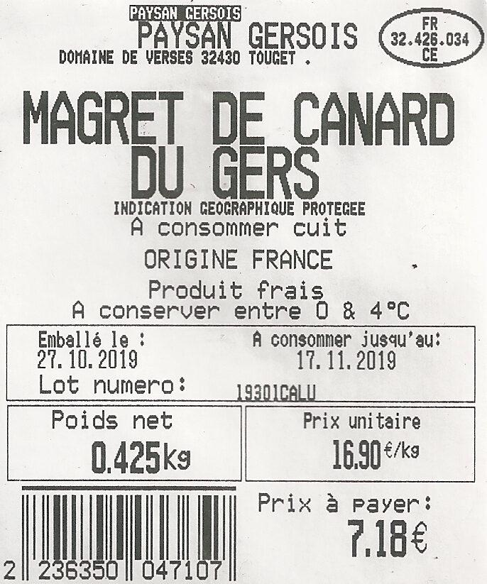 Magret de canard du Gers - Ingrédients - fr