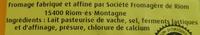 Cantal Entre Deux AOP - Ingrédients - fr