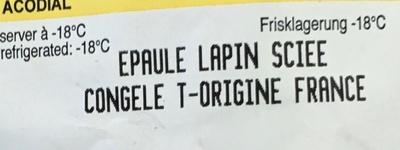 Epaule Lapin sciée congelé - Ingrédients