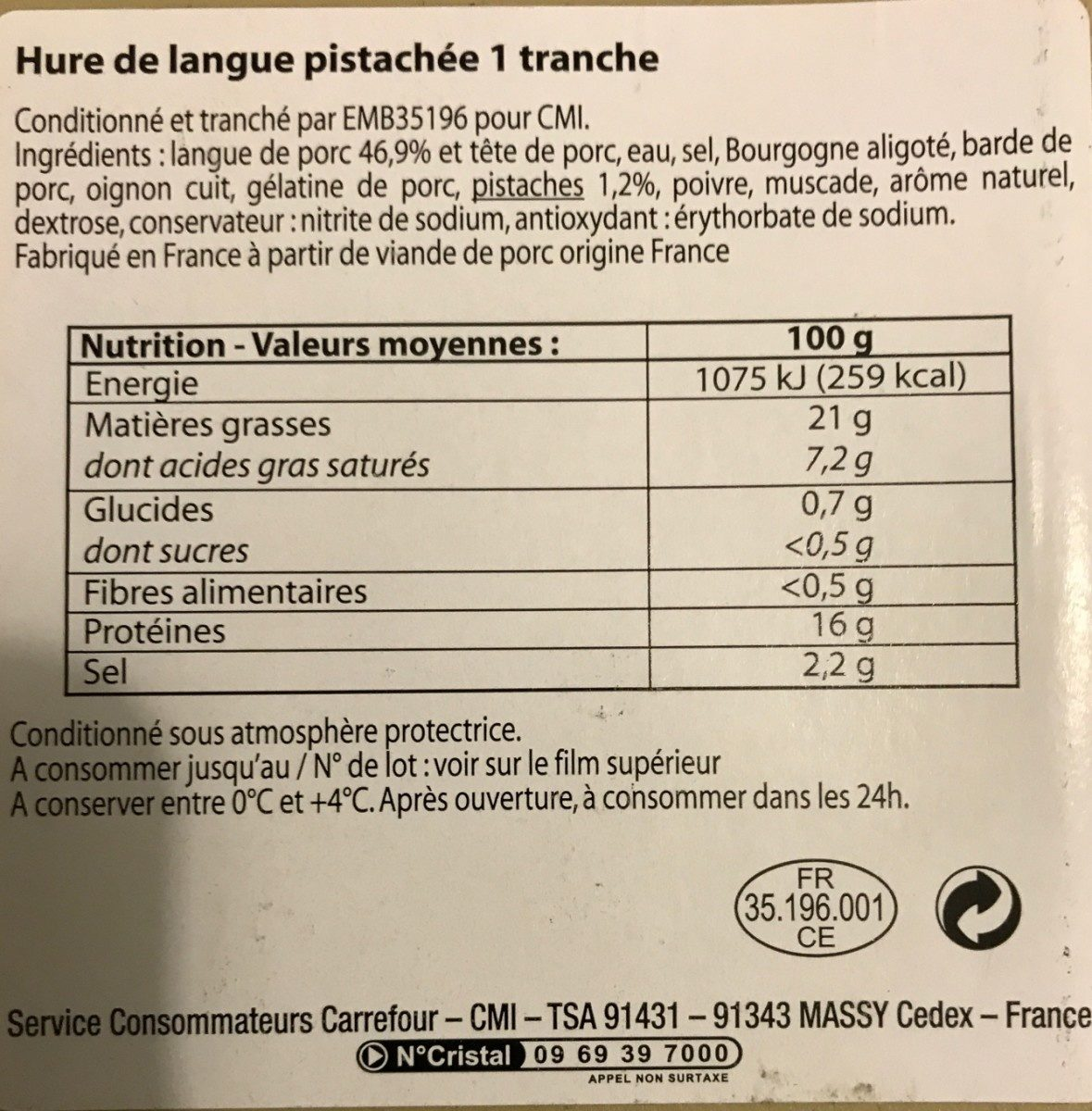 Hure de langue pistachée - Ingredients - fr
