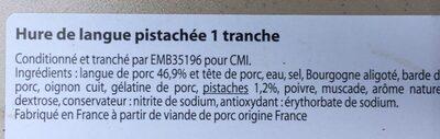 Hure de langue pistachè - Ingredients - fr