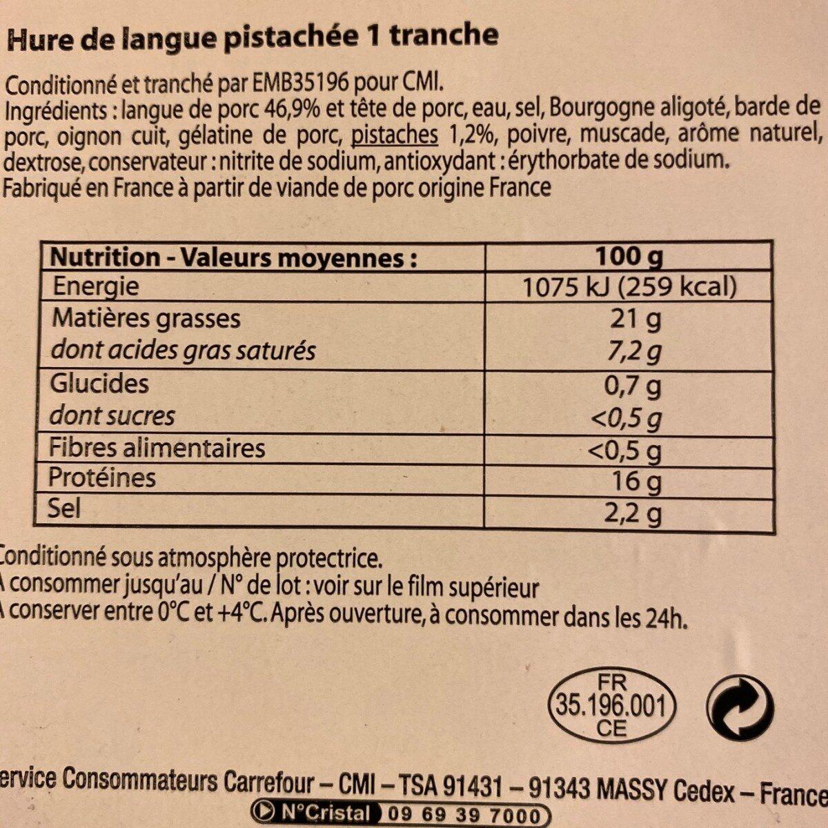 Hure de langue pistachée - Nutrition facts - fr