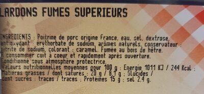 Lardons fumés supérieurs - Ingrediënten - fr