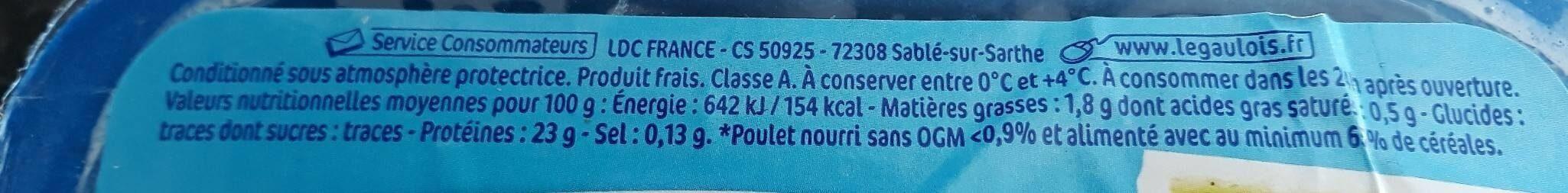 Aiguillettes de poulet - Valori nutrizionali - fr