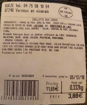 La caillette aux couc - Ingrediënten - fr