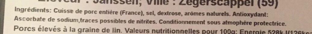 Jambon - Ingredients - fr
