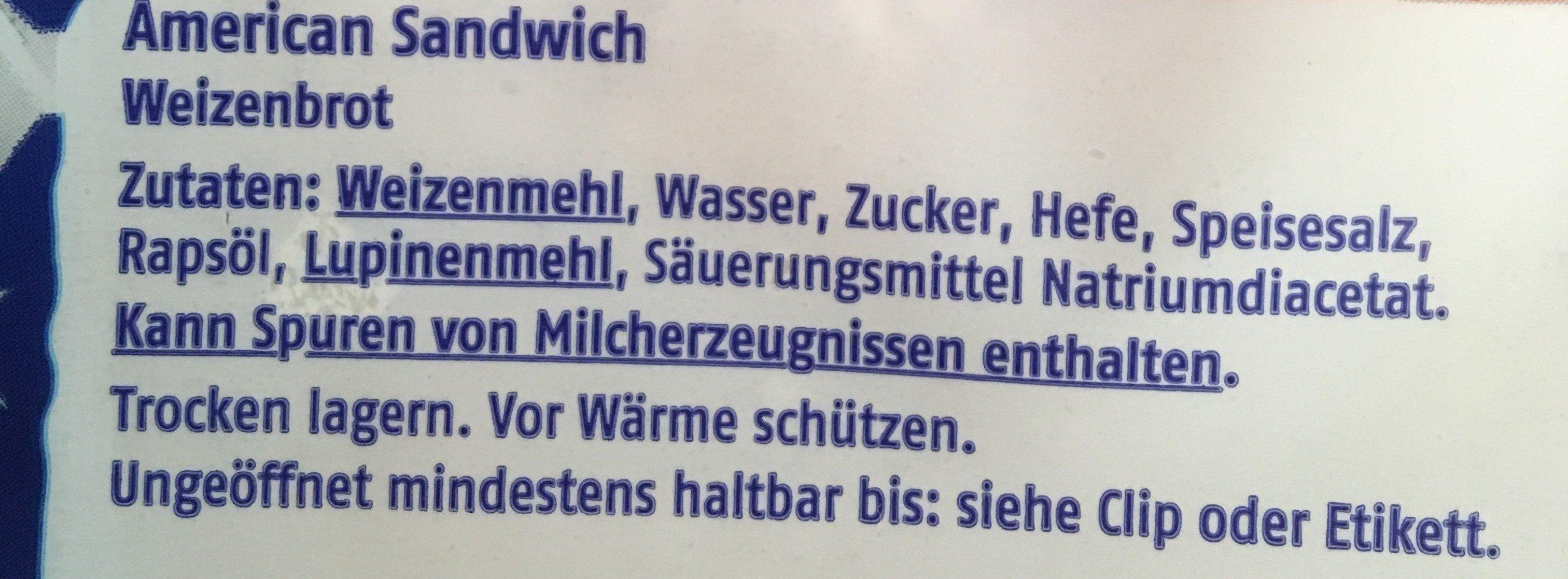 American Sandwich - Ingrediënten - de