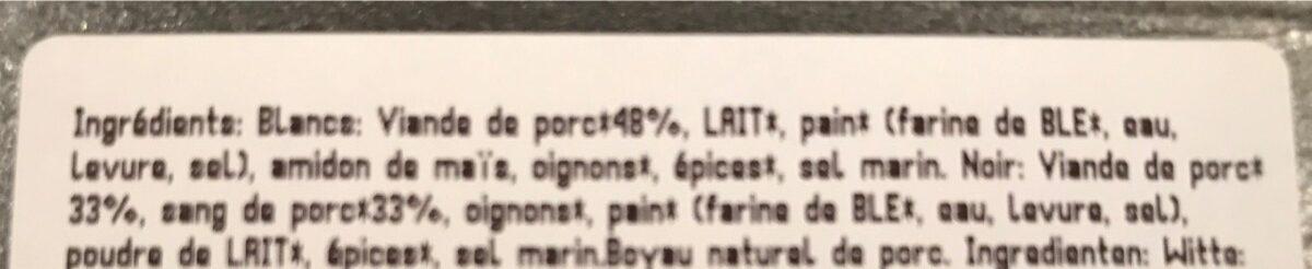 Boudin blanc et noir mixte bio - Ingrédients - fr