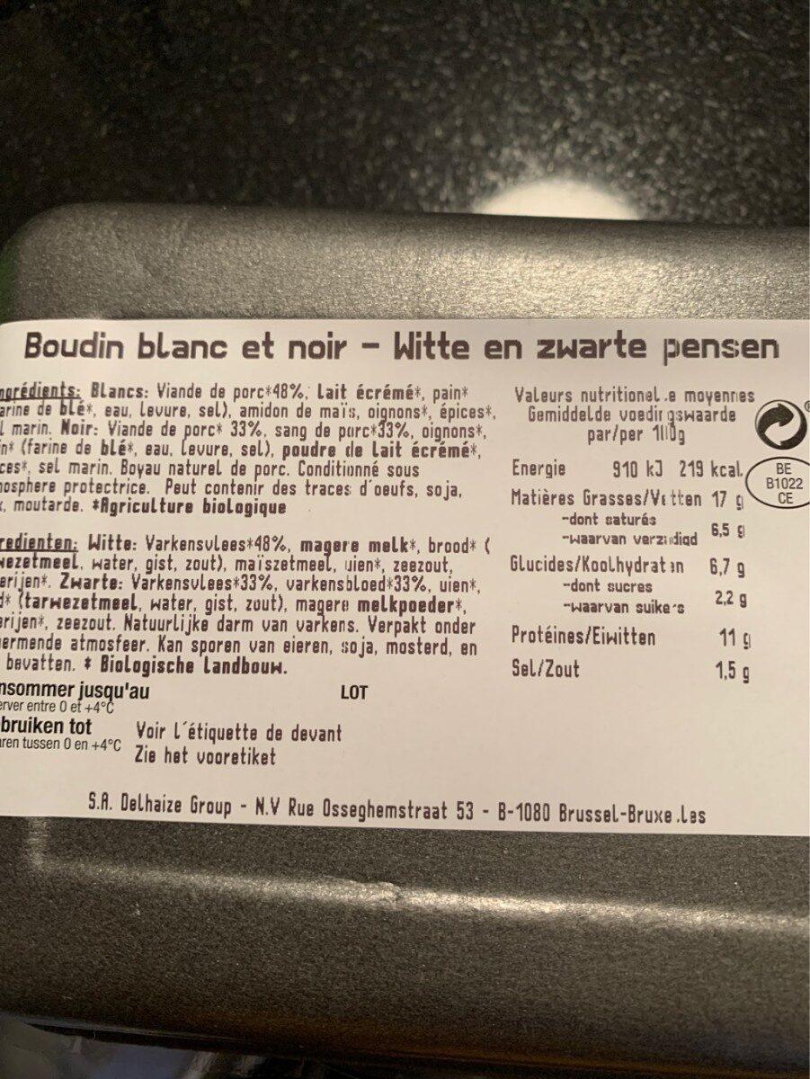 Boudin noir et blanc - Voedingswaarden
