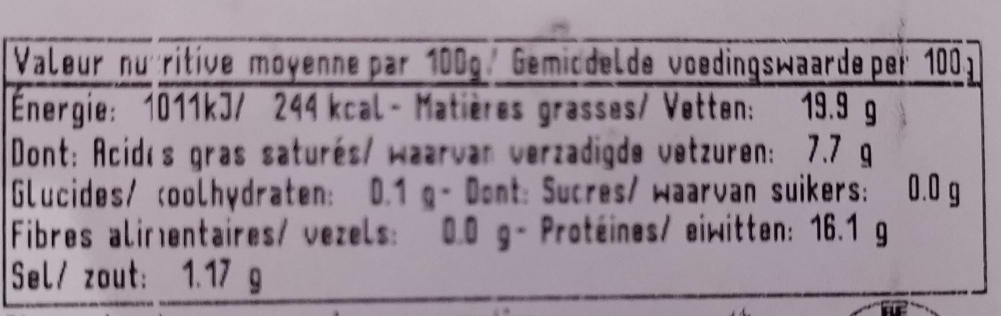 Chipolata biologique - Informations nutritionnelles - fr