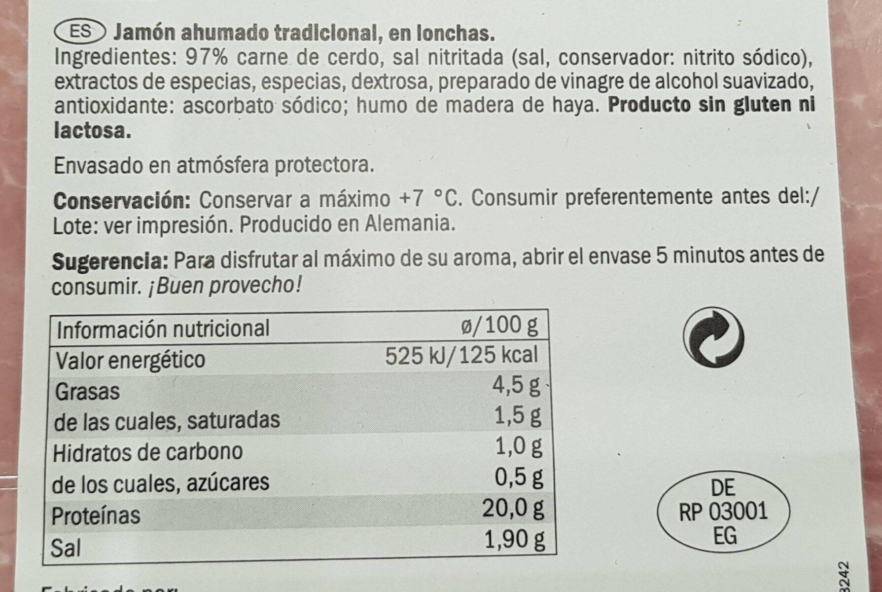 Jamón cocido ahumado - Nutrition facts