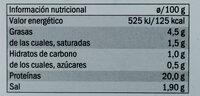 Jamón cocido ahumado - Informació nutricional - es
