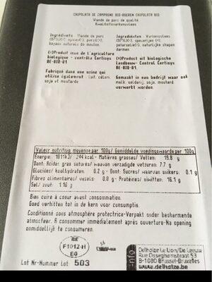 Chipolata campagne bio - Informations nutritionnelles - fr