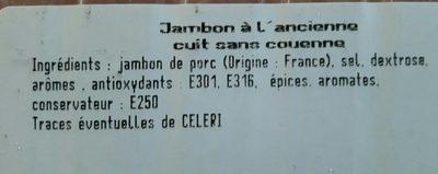 Jambon à l'ancienne - Ingredients