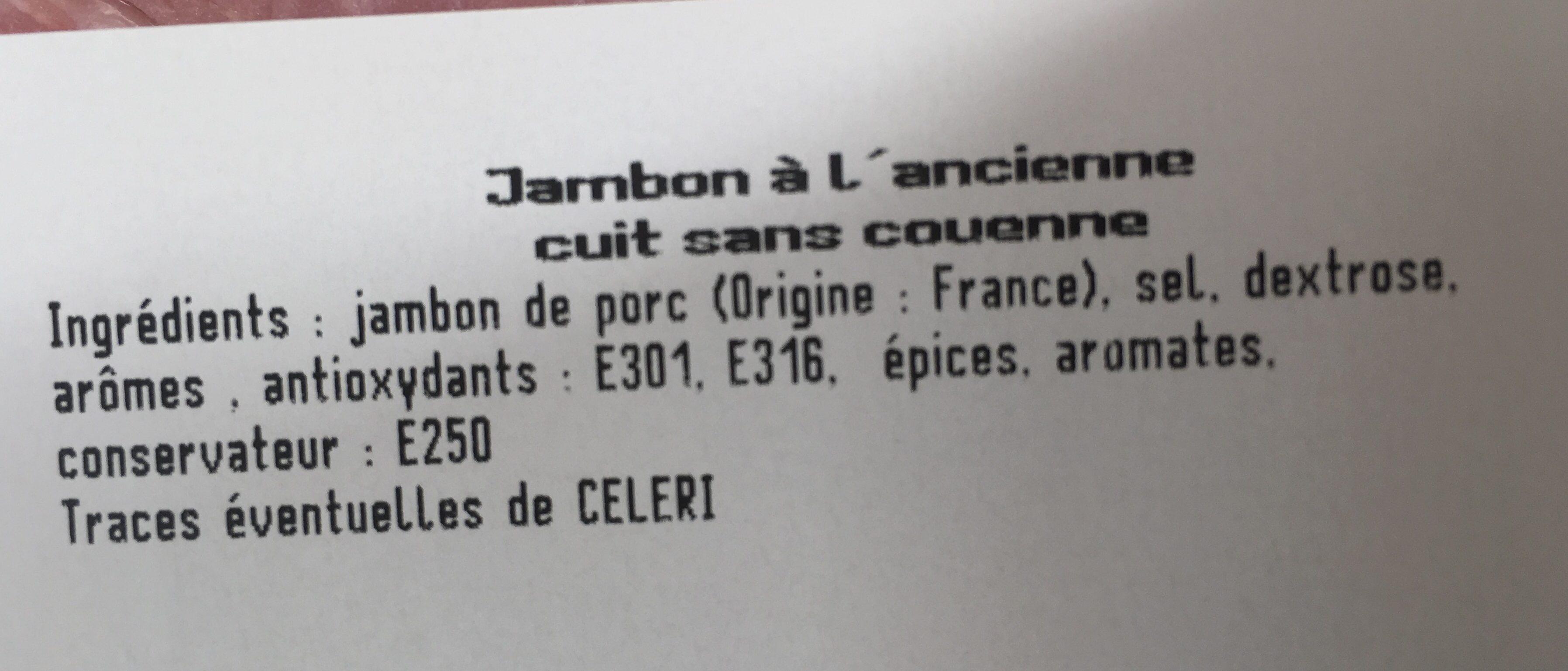 Jambon à l'ancienne - Ingrédients