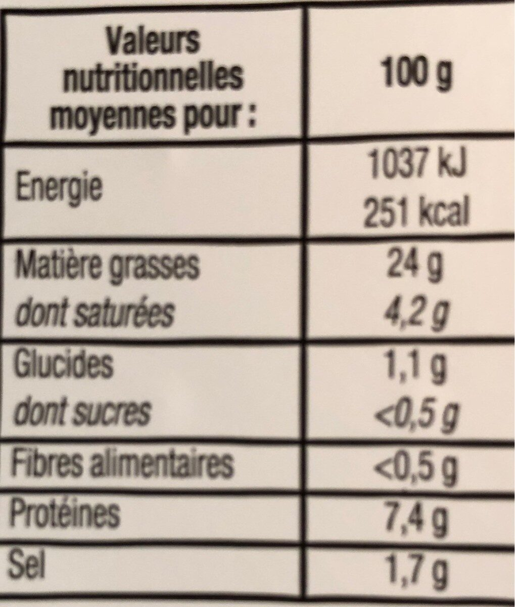 Museau de porc sauce vinaigrette - Nutrition facts