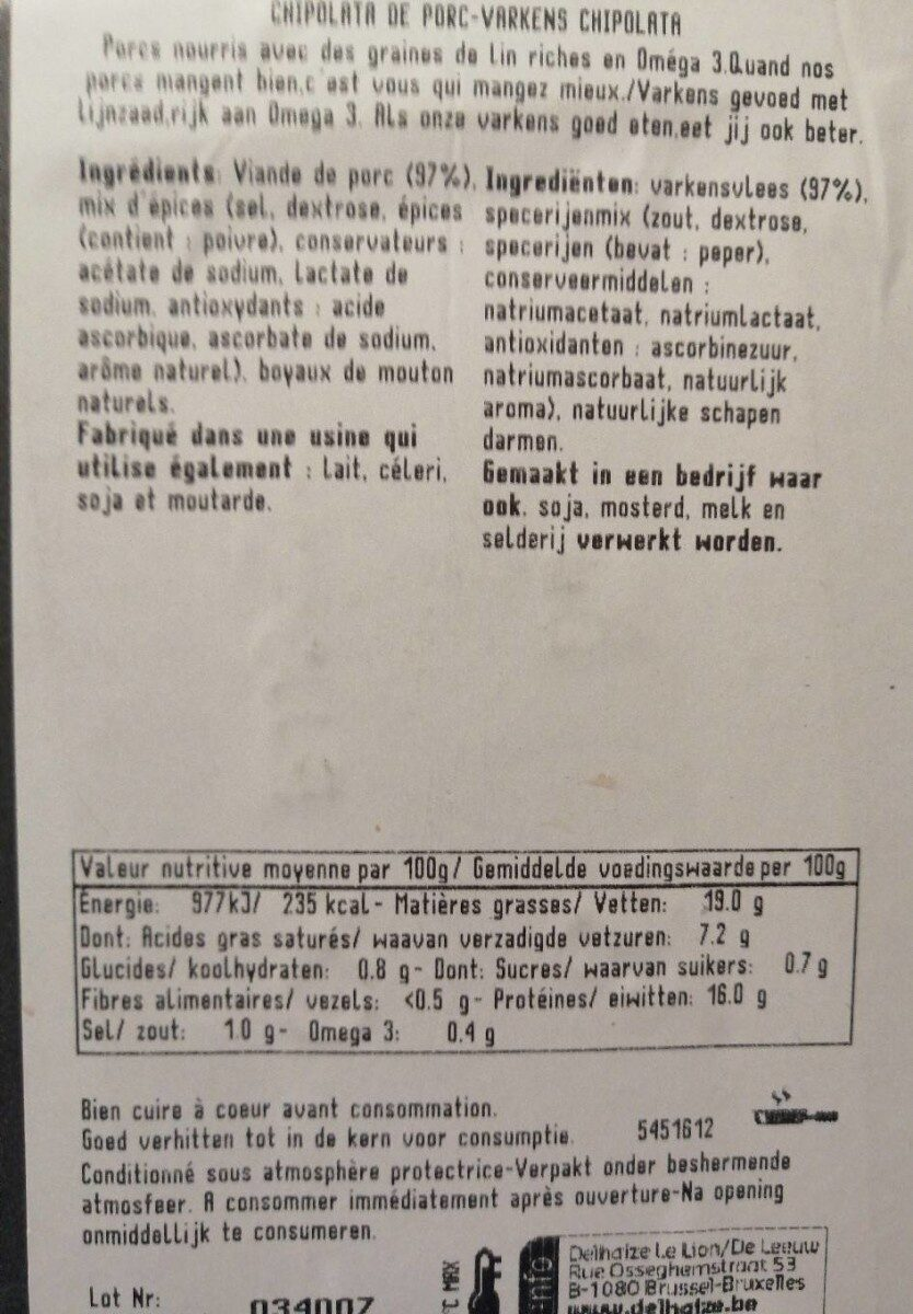 Chipolata de porc - Informations nutritionnelles - fr