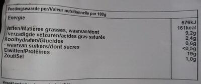 Viande épice poulet bio - Voedingswaarden