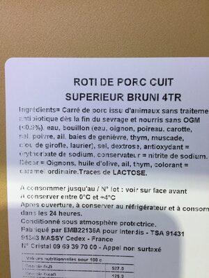 Roti de porc cuit - Ingrediënten - fr