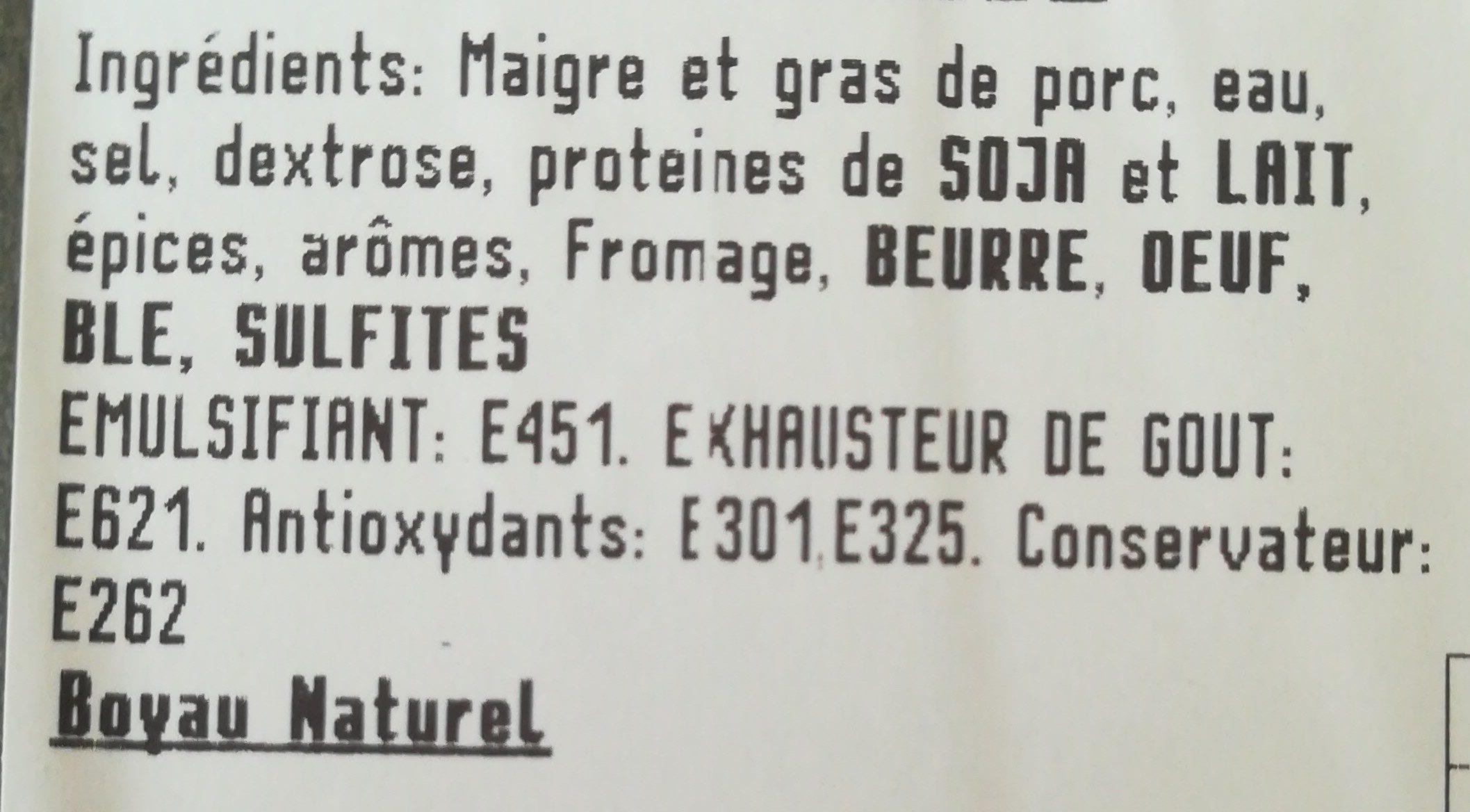 Saucisses blanches au fromage - Ingrediënten - fr