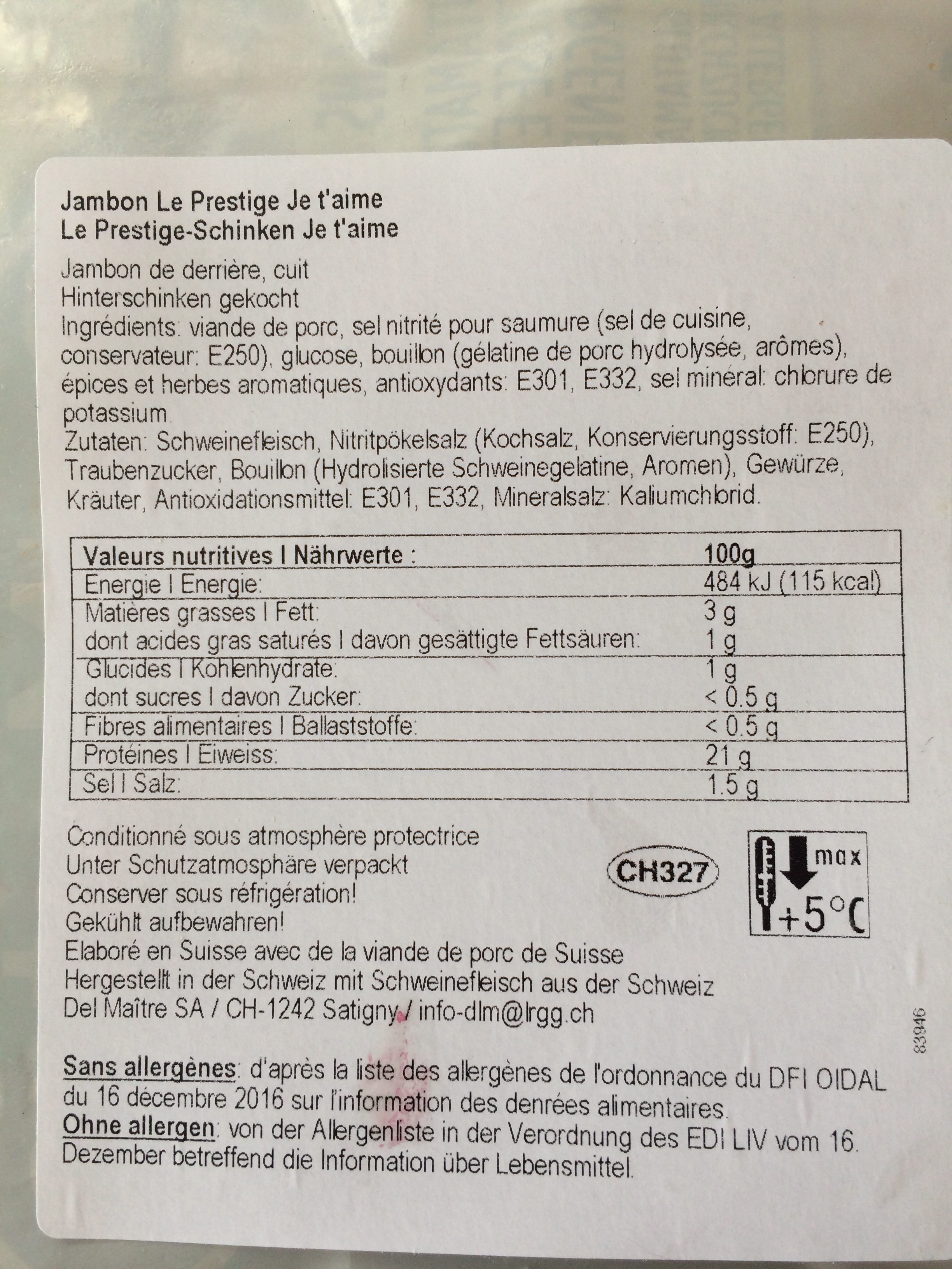 Prestigedel Maître - Ingredienti - fr