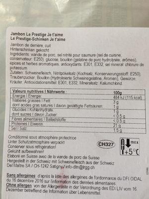 Prestigedel Maître - Valori nutrizionali - fr