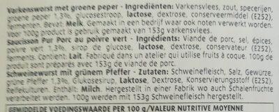 Pavé au poivre Vert - Ingredients