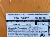 Mimolette Française - Ingrediënten