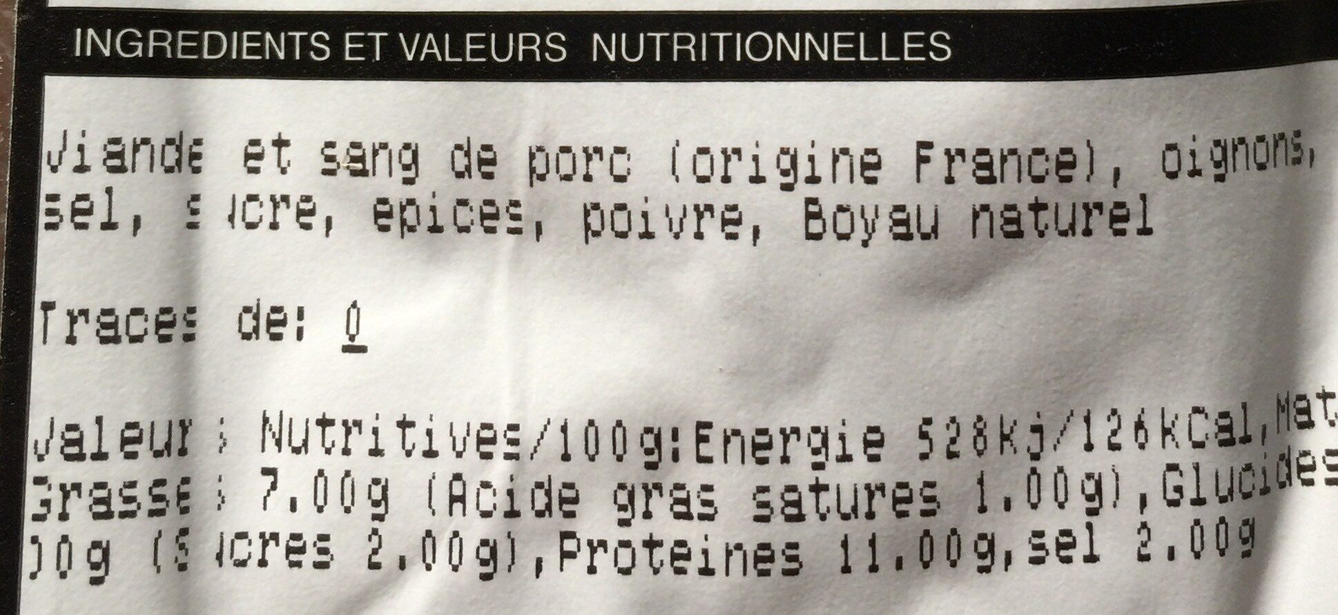 Boudins noirs - Nutrition facts - fr
