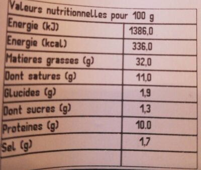 Mousse de foie qualité supérieure - Nährwertangaben - fr