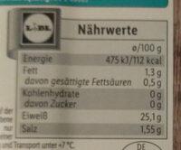 Tilapiafilet ohne Haut, heissgeräuchet - Nutrition facts - de