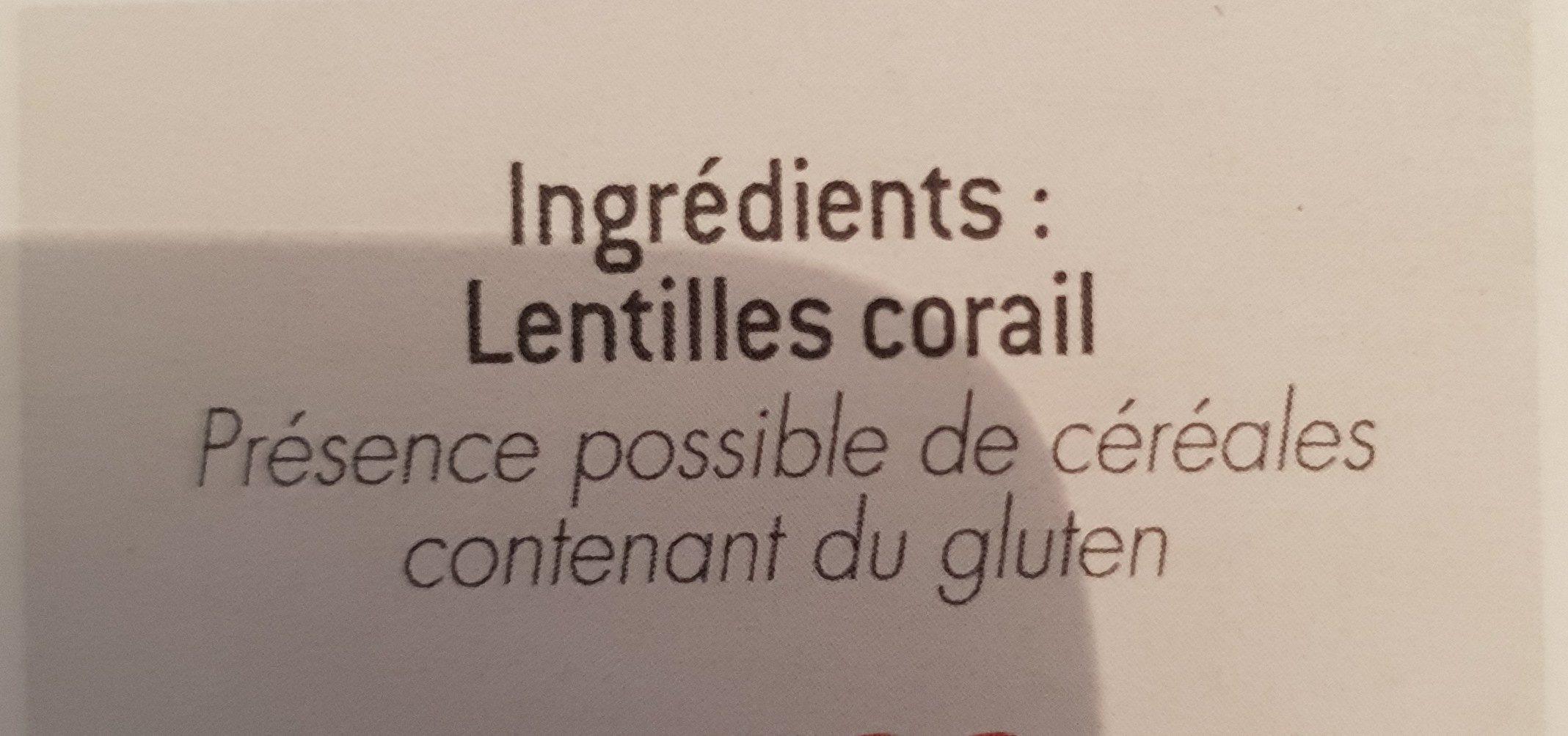 Lentilles corail - Ingrédients