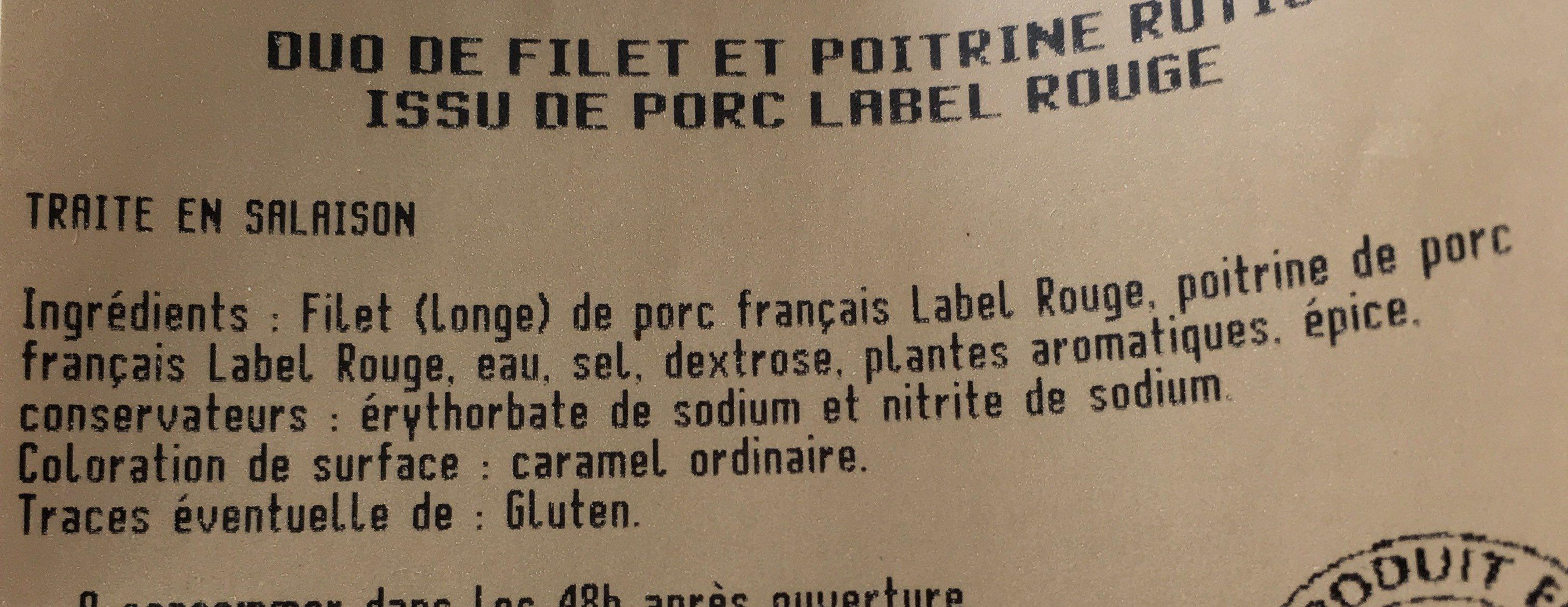 Duo de filet et poitrine - Ingrediënten - fr