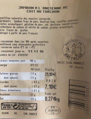 Jambon à l'ancienne - Ingredients - fr