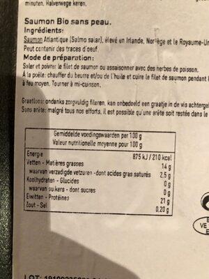 Filet de saumon sans peau - Voedingswaarden