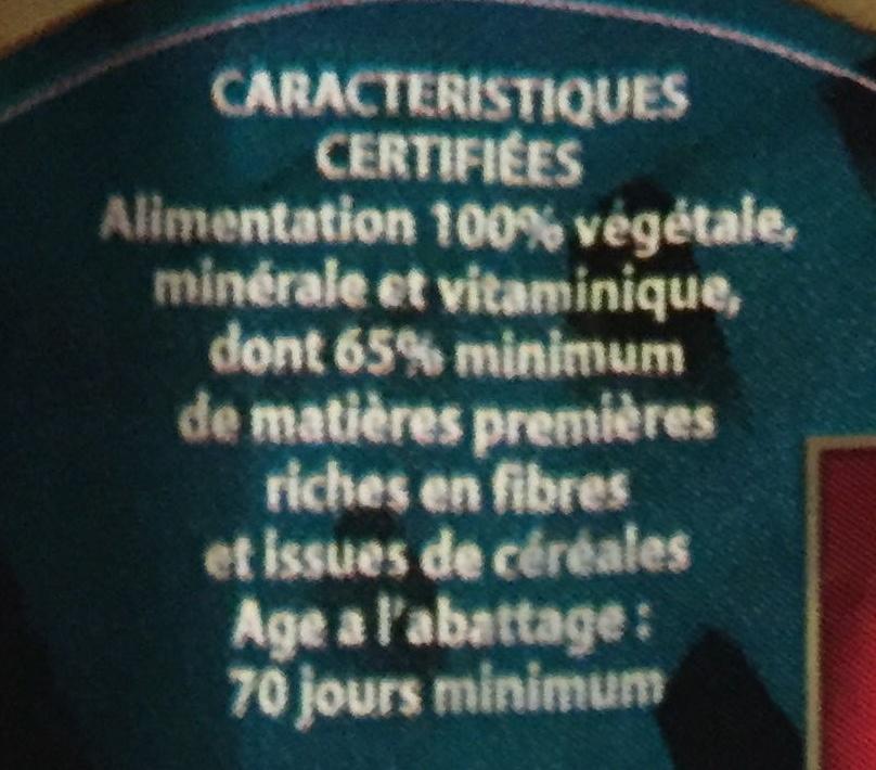 Lapin entier du Ch'ti (& foie) - Informations nutritionnelles