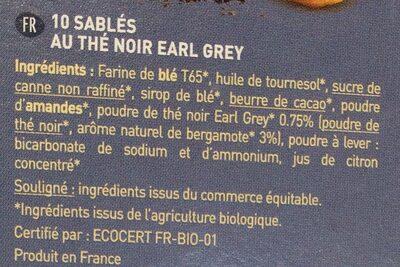 Plaisir Earl Grey - Ingredients - fr