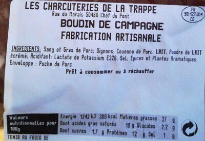 Boudin de campagne - Informations nutritionnelles - fr