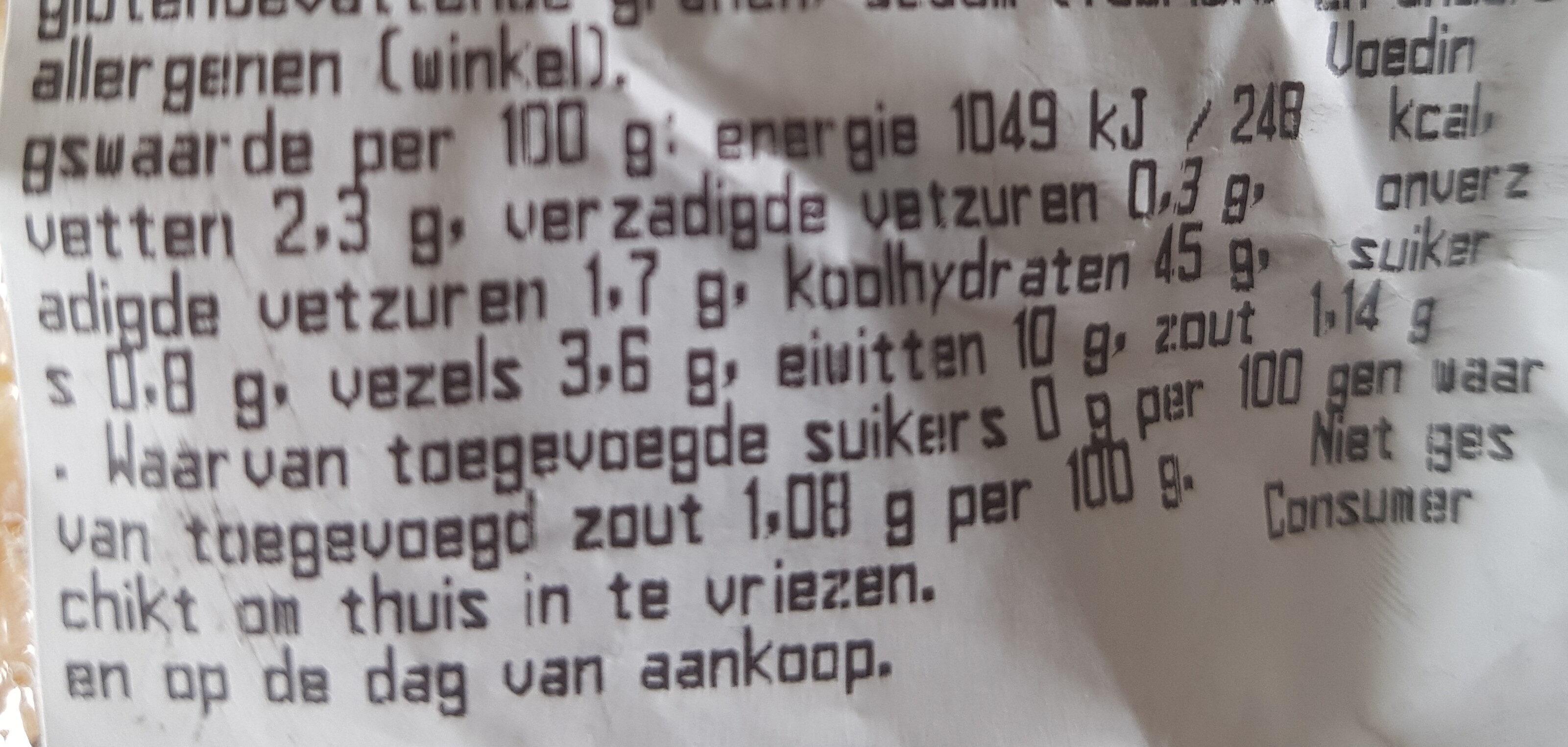 Rustiek stokbrood spelt - Nutrition facts - nl